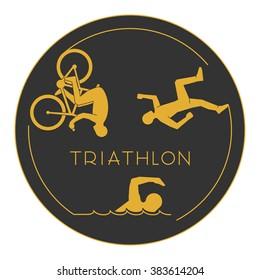 Gold logo triathlon. Triathlete figures on white background.