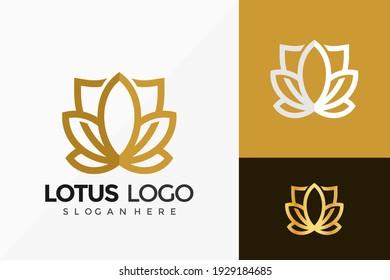 Gold Lotus Shield Logo Vector Design. Abstract emblem, designs concept, logos, logotype element for template.