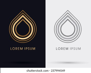 Gold Lotus,drop, water, logo, symbol, icon, graphic, vector.