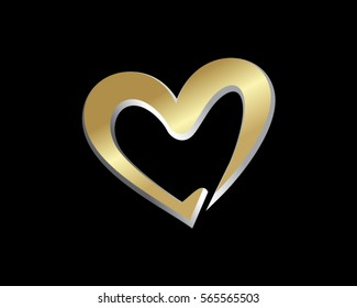 gold love heart valentine logo 1