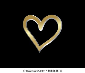 gold love heart valentine logo 10