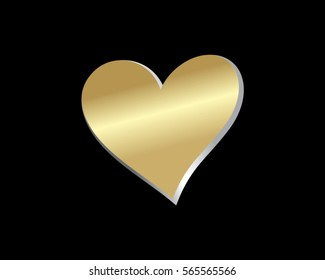 gold love heart valentine logo
