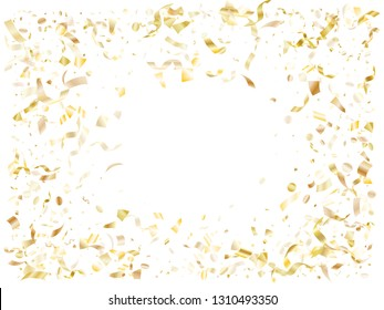 Gold luminous confetti flying on white holiday card background. Chic flying tinsel elements, gold foil gradient serpentine streamers confetti falling birthday background.