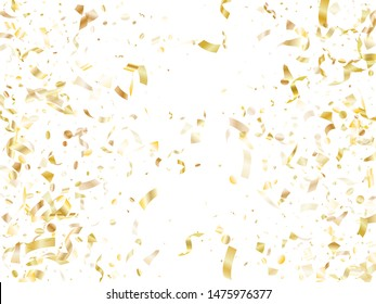 Gold luminous confetti flying on white holiday vector graphic design. VIP flying sparkle elements, gold foil texture serpentine streamers confetti falling new year vector.
