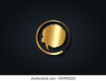 Gold luxury African Woman round logo design. Golden diadem Curly afro hair, Afro portrait in ethnic traditional hair style concept, vector isolated on black background