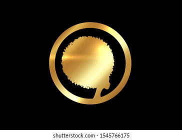 Gold luxury Afro logo design. Golden diadem Curly afro hair, portrait African Woman in ethnic traditional hair style concept, vector isolated on black background
