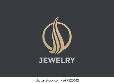 Gold Luxury Fashion Elegant Circle abstract Logo design vector template. Jewelry Logotype concept icon.