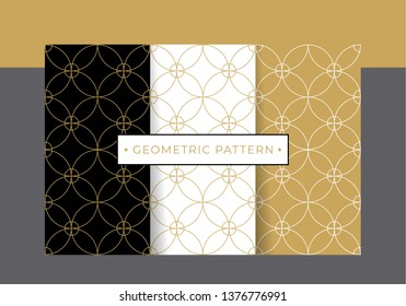 Gold luxury geometric pattern collection set. Vector eps10 editable.