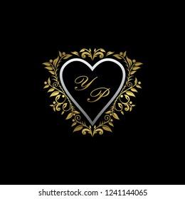 Gold Luxury Heart YP Letter Badge, Wedding Logo