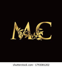 Gold Luxury M and C, MC Letter Initial Logo Icon, Monogram Floral Leaf Logo Template Design.