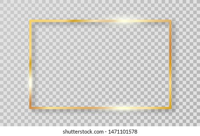 Gold luxury shiny glowing realistic vintage frame with shadows isolated on transparent background. Vector golden realistic rectangle border. Vector Illustration.