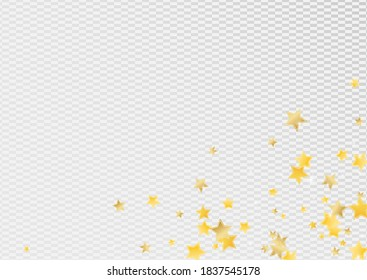 Gold Luxury Stars Vector Transparent Background. Falling Sky Texture. Shine Banner. Yellow Bright Starry Illustration.