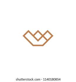 GOld LW Monogram with Crown Line Art Furniture Photography Logo Design