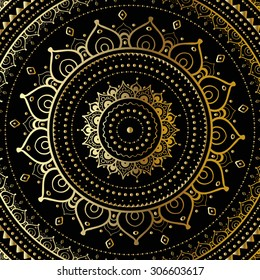 Gold mandala on black background. Ethnic vintage pattern.