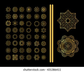 Gold mandala on black background. Ethnic vintage pattern Islamic design for your invitations in islamic style.