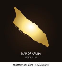 Gold map of Aruba-Aruba map on a dark background.Vector illustration eps 10.