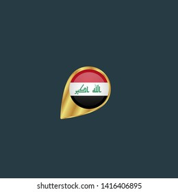 gold map pin with Iraq circle flag