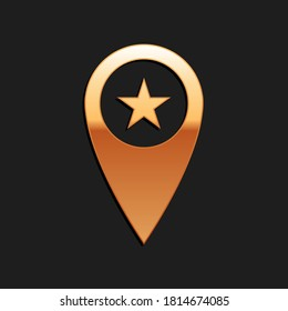 Gold Map pointer with star icon isolated on black background. Star favorite pin map icon. Map markers. Long shadow style. Vector.