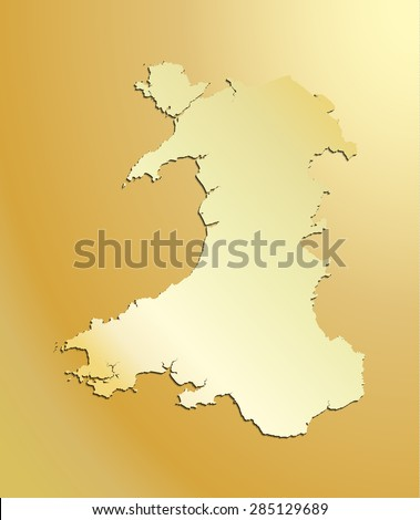 Map Of Wales Uk.Gold Map Wales Uk Stock Vector Royalty Free 285129689 Shutterstock