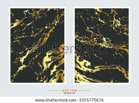Gold Marble Cover Background Vector Set Vector De Stock