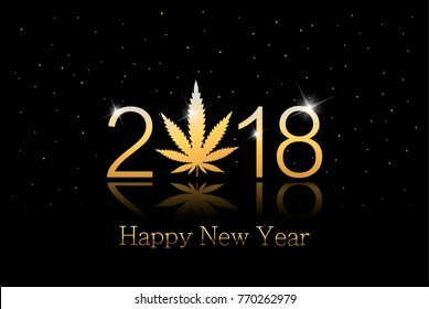 Gold Marijuana leaf and 2018 year on black background with white snowflakes. Happy new year card. vector illustration