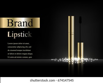 Gold mascara on dark background with bright flare and rays with reflection, vector realistic 3D, advertising, poster, banner, design, products