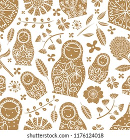 Gold matryoshka and flowers. Cute babushka.Seamless pattern can be used for wallpaper, pattern fills, web page background, surface textures.