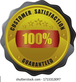 A gold medal 100 percent guaranteed shop icon with star shaped border.