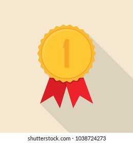 Gold medal award in a flat design with long shadow.
