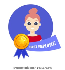 Gold medal for best employee of the month with woman's portrait and a ribbon. Star performer medallion honouring  hard work and top achievements in business. Cartoon vector illustration.