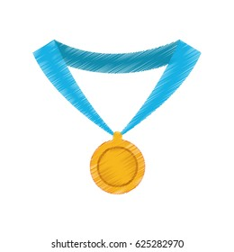 gold medal with blue ribbon icon image