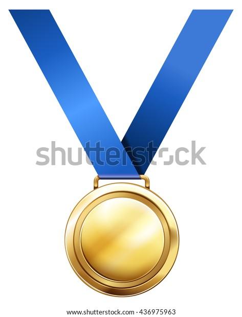 Gold Medal Blue Ribbon Illustration Stock Vector (Royalty
