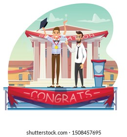 Gold Medal and Degree Certificate Receiving. Professor Giving Diploma Man with Graduate Cap. Teacher Congratulating Scholar. Student Character Happily Celebrate Education Finish. Vector Illustration