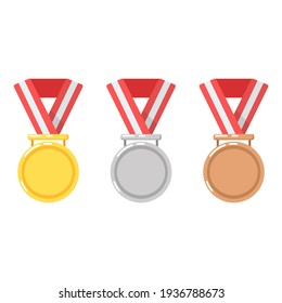 Gold medal for first place in a sports competition. Silver for second place. Bronze for third place. Victory. Red ribbon. Flat minimalistic design. Icons. Isolated clipart set on white background.