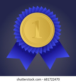 Gold medal for first place. Trophy, winner award. Golden badge. Achievement, victory concept. Vector stock illustration.