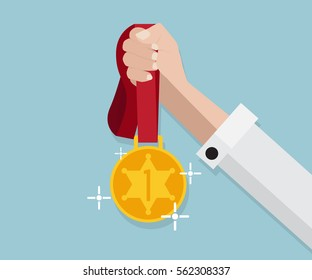 gold medal hold in hand vector illustration