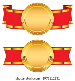 Gold Medal Icon Badge. Symbol of victory in sport, in business, medal with red ribbon isolated on white background. Vector illustration