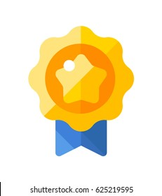 Gold medal icon. Shiny medal with star. Winner award icon. Best choice badge. Flat icon. Vector illustration.