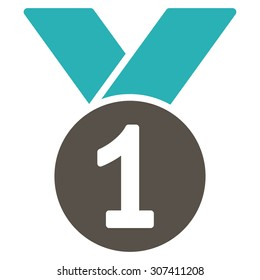 Gold medal icon. Vector style is flat bicolor symbols, grey and cyan colors, rounded angles, white background.