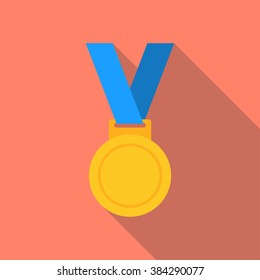 Gold medal isolated on a background. Gold medal for first place. Gold medal flat icon