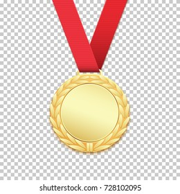 Gold medal isolated on transparent background. Vector illustration.