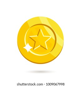 Gold medal  isolated on white background. Vector illustration in flat style.