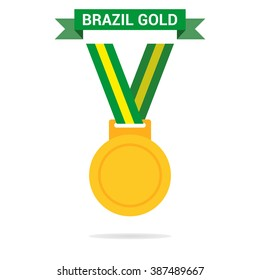 Gold medal isolated on a white background. Gold medal for first place. Gold medal flat icon. The tape in the Brazilian colors