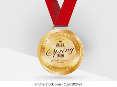 Gold medal on a ribbon, vector illustration