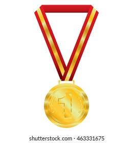 Gold  medal on white background.