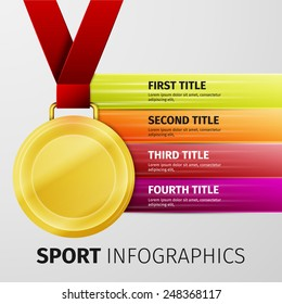 Gold medal with red ribbon isolated on white, excellent vector illustration, EPS 10