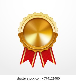 Gold medal with red ribbon, isolated on white