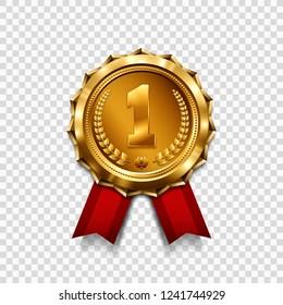 Gold medal with red ribbon. Metallic winner award. Vector illustration.