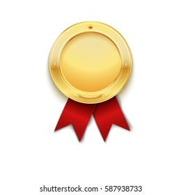 Gold medal with red ribbon. Vector illustration