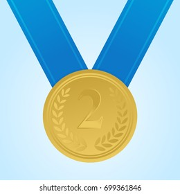 Gold medal for the second place. The trophy, the winner's reward. Gold badge. Achievement, the concept of victory. Vector illustration.Blue ribbon